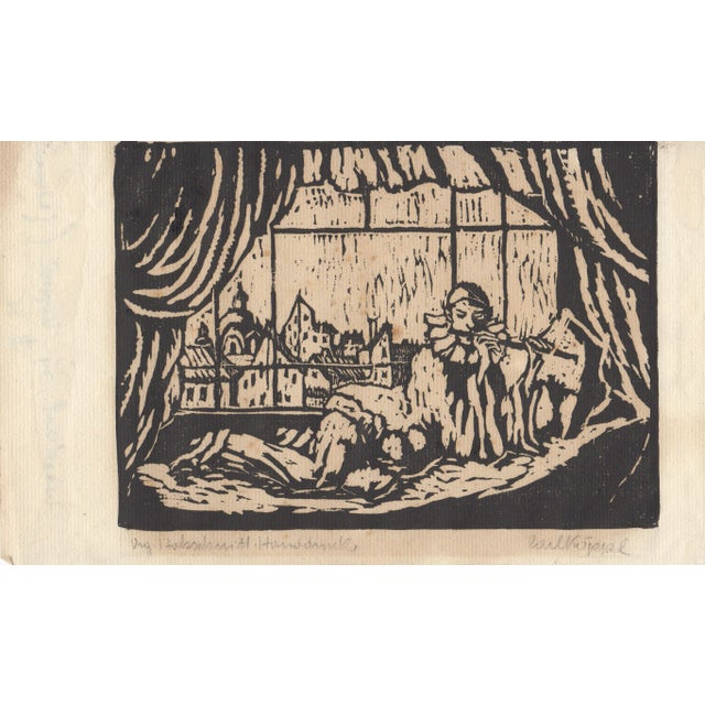 Image of Harlequin Playing Flute Woodcut