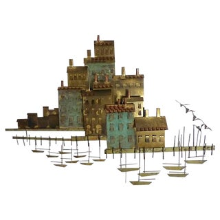 Curtis Jere Fishing Village Wall Sculpture