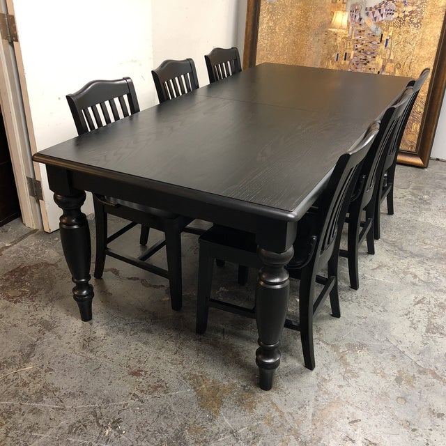 Pottery Barn Francisco Black Table & Six Chairs - Dining Set - Image 3 of 8