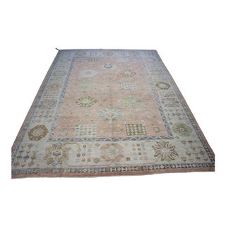 Vintage Turkish Oushak Rug - 10′6″ × 14′