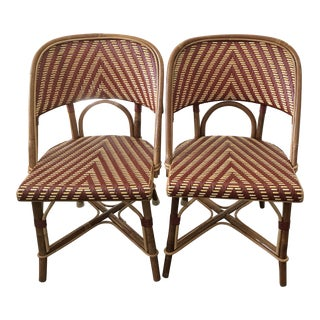 French Wood & Wicker Bistro Chairs - A Pair