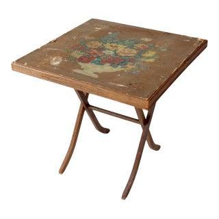Vintage Floral Folding Table Ca. 1930