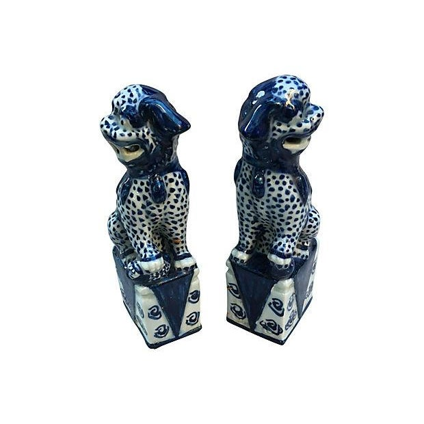 Chinese Blue & White Foo Dogs - Pair - Image 4 of 5