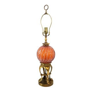 Hollywood Regency Murano Pulegoso Glass and Brass Lamp