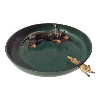 Vienna Bronze Dog & Fox Chase Green Tray