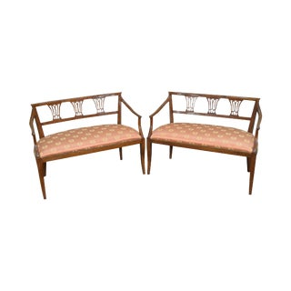 Italian Walnut Pair of Settees circa 1950s