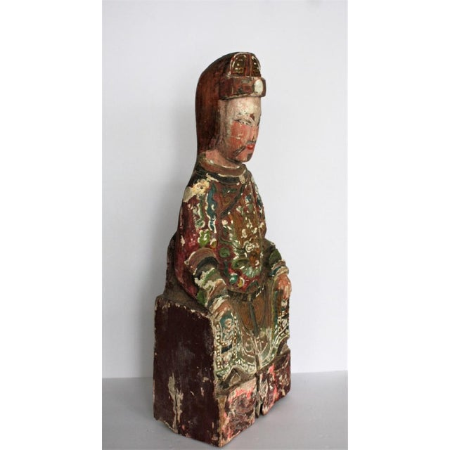 Early Chinese Polychromed Wood Temple Figure - Image 5 of 8