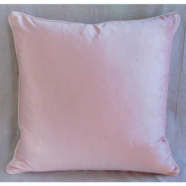 Desinger French Pink Toile & Velvet Pillows - Pair - Image 4 of 11