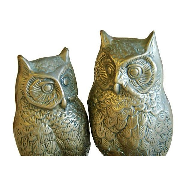 Mid-Century Modern Brass Owls on Branch Statue - Image 5 of 6