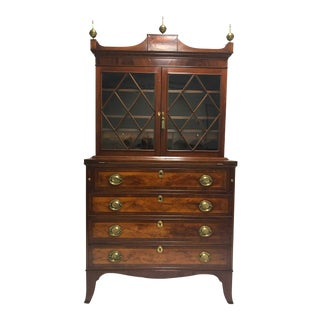 Federal Mahogany Inlaid Secretary Bookcase