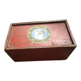 Antique Mystery Money Box W/ Painted Lovers Eye