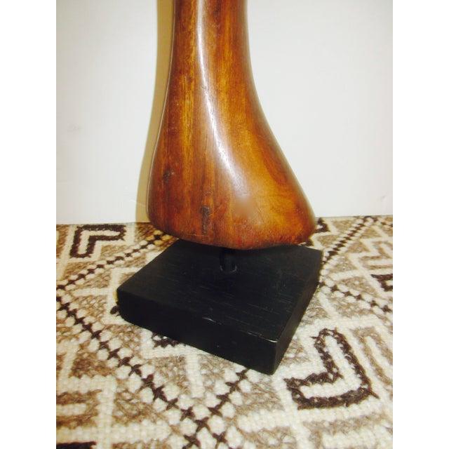 Vintage Modernist Carved Wood Woman Sculpture - Image 7 of 8