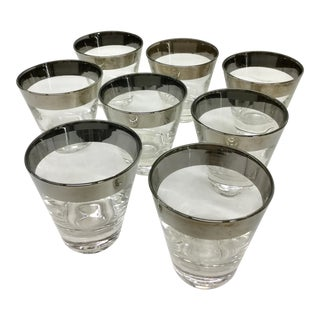 Dorothy Thorpe Silver Rim Cocktail Glasses - Set of 8