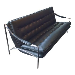 """Milo Baughman for Frank & Son """"Sling Collection"""" Black Leather and Chrome Sofa"""