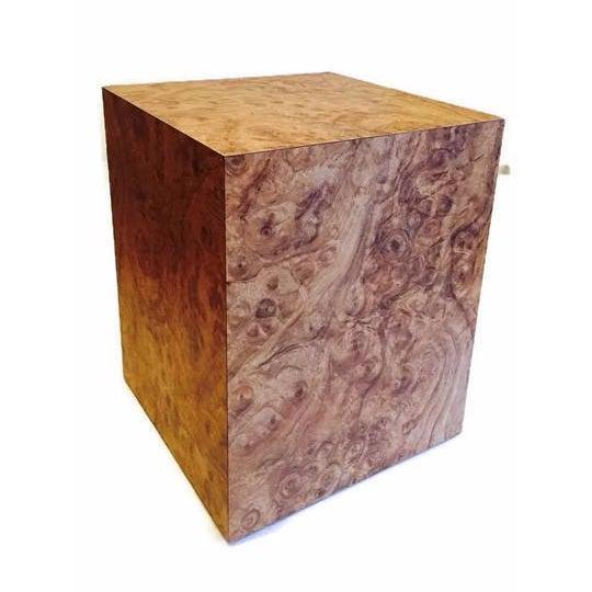 Vintage Burlwood Cube Side Table - Image 1 of 6