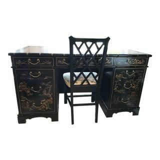 Vintage Drexel Heritage Black Chinoiserie Writing Desk & Chair Set