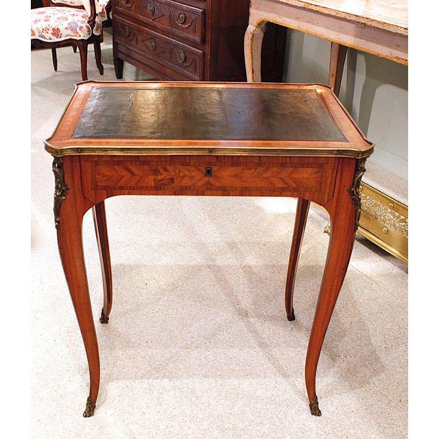 French Louis XV Style Brass Bound Marquetry Occasional Table - Image 4 of 11