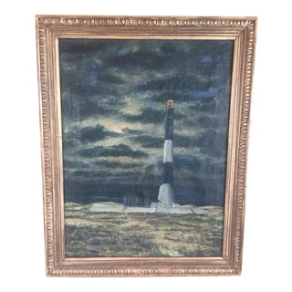 Vintage Nautical Oil Painting in French Frame