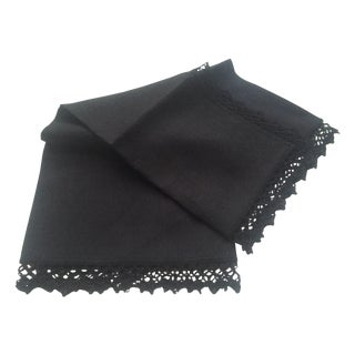 Anichini Felicija Black Lace Linen Dinner Napkin