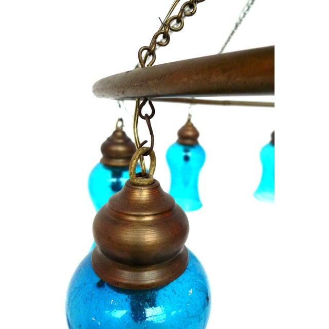 Image of Handblown Blue Glass Chandelier