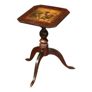19th Century English Carved Mahogany Tea Table with Painted Scene on the Top