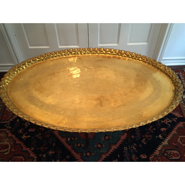 Image of Large Oval MCM Brass Tray Coffee Table