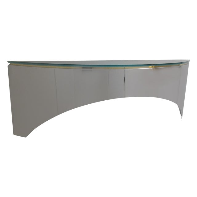 Image of Lorin Marsh Chrome & Frosted Glass Wall Credenza
