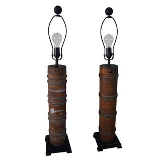 Antique Maple Printing Roller-Based Table Lamps - A Pair