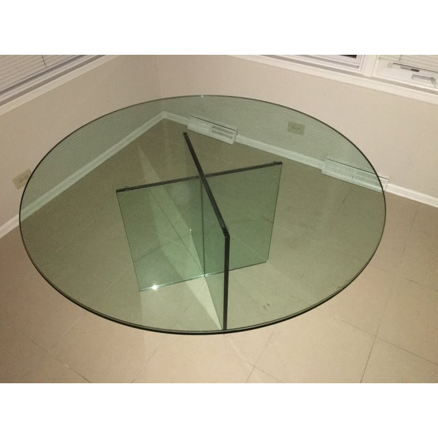 X-Base Round Top Glass Dining Table - Image 4 of 7