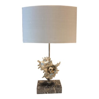 Silver Shell Lamp With Black Marble Base