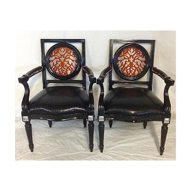 Image of Vintage French-Style Ebonized Armchair - Pair