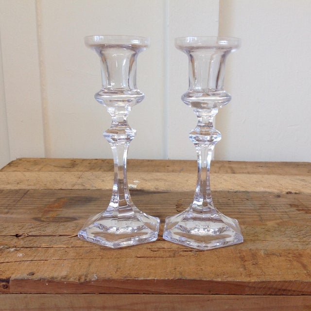 French Crystal Candle Holders- A Pair - Image 2 of 9