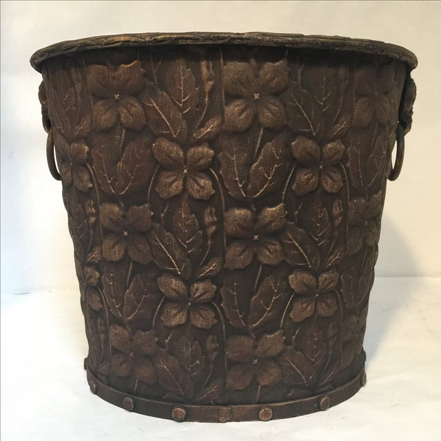 Metal Embossed Bucket with Handles - Image 2 of 6