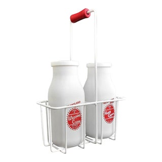 Retro White Glass Cream Bottles and Metal Carrier