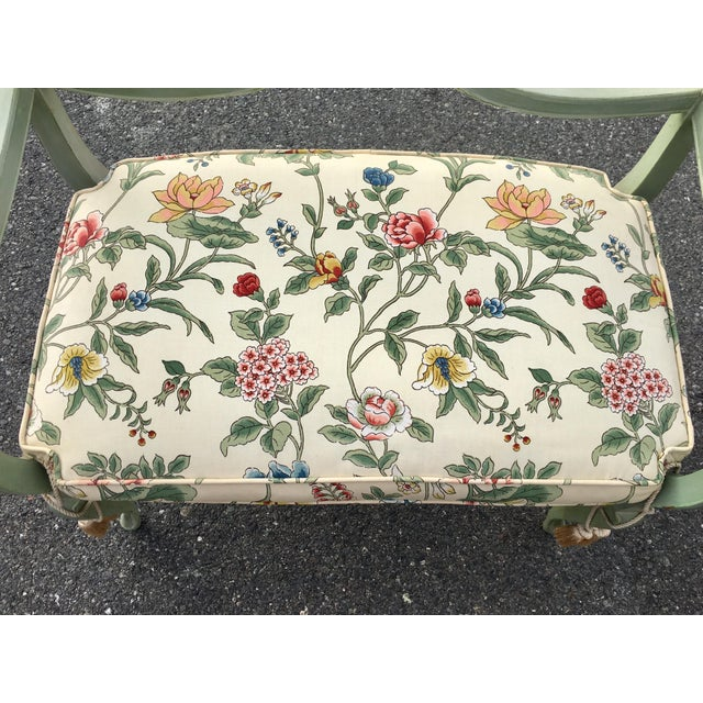 Antique Green French Provincial Carved Wood Small Bench Settee - Image 6 of 11