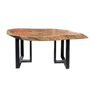 Raw Wood Plank Uneven Shape Metal Base Desk