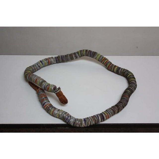 Folk Art Carved Wood and Bottlecap Snake after Felipe Archuleta - Image 6 of 10