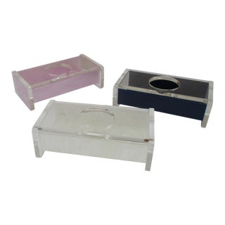 Hollywood Regency Lucite Tissue Box - Set of 3