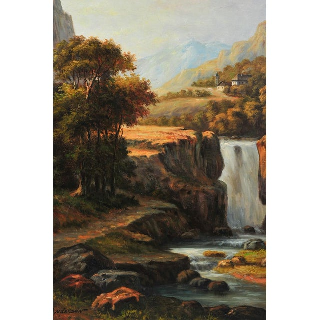 """19th C. Hudson River School """"Waterfall Landscape"""" Oil Painting - Image 2 of 9"""