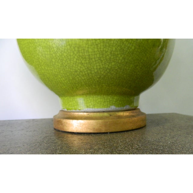 Seaweed Green Crackle Table Lamps - A Pair - Image 4 of 8