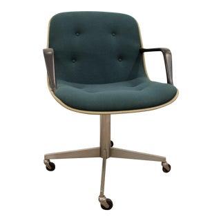 Mid-Century Modern Groovy Green Steelcase Office Arm Chair on Wheels