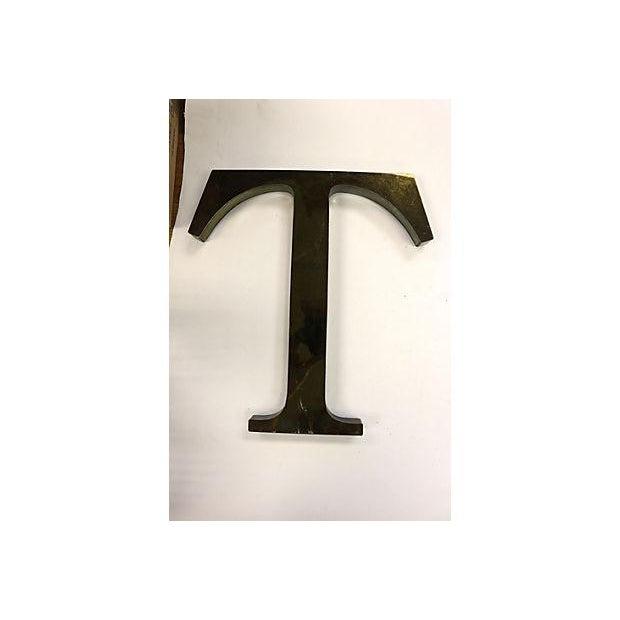 "Image of Vintage Metal English Pub Sign Letter ""T"""