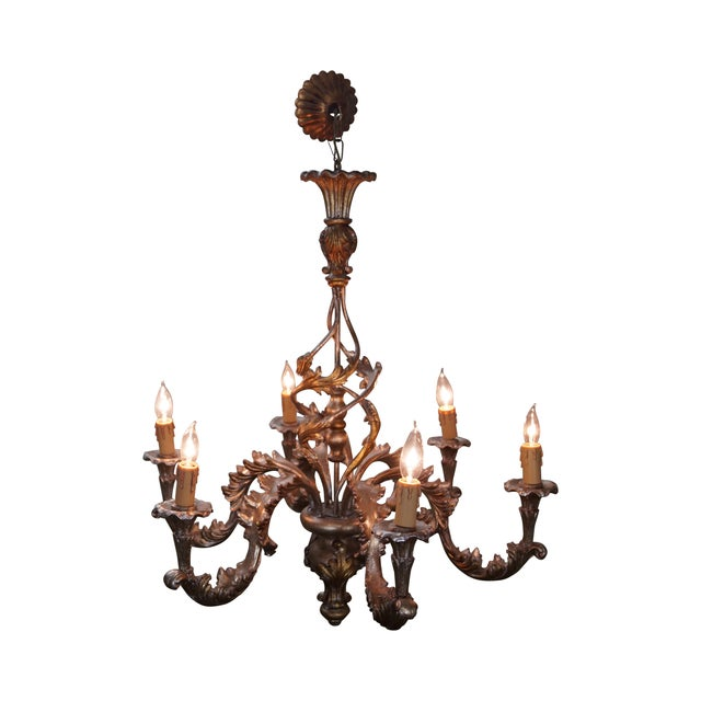Italian Florentine Carved Gilt Rococo Chandelier - Image 1 of 10