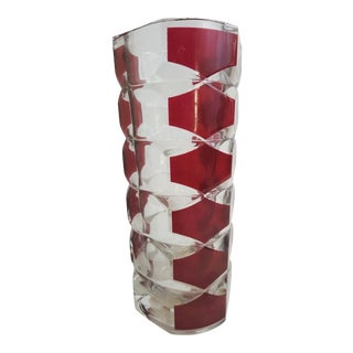 Czech Bohemian Ruby Cut to Clear Glass Vase