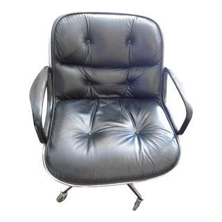 Charles Pollock for Knoll Executive Black Leather Armchair
