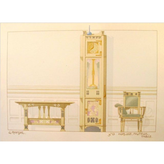 Image of Vintage French Decorator Sheet Interior/Clock