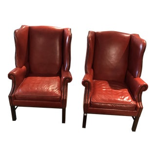 Rich Cognac Wingback Chairs