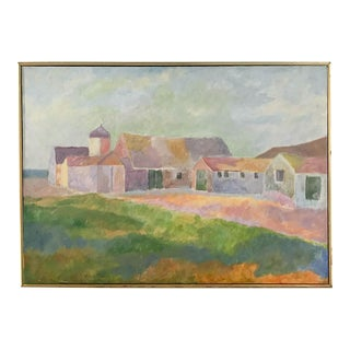 "Rowe-Libin ""Farm"" Mid-Century Landscape on Canvas"