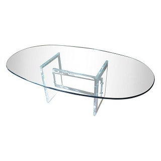 Oval Lucite Coffee Table