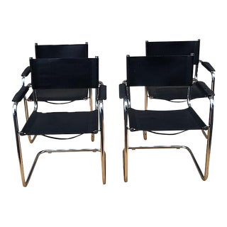 Mart Stam for Thonet Vintage Chrome Leather Cantilever Chairs - Set of 4